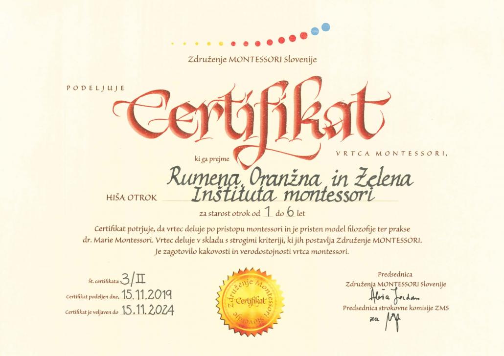 Certifikat Združenja montessori
